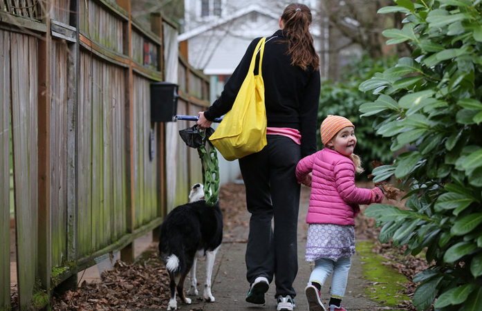 Playability - mother, girl and their dog