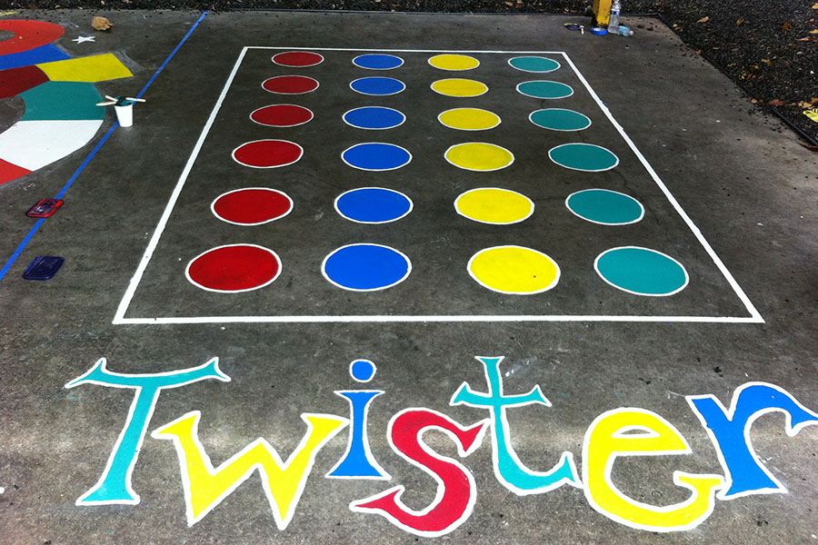 painted twister game on concrete