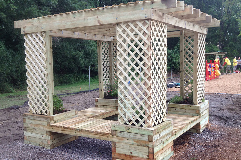 Planter bench shade structure