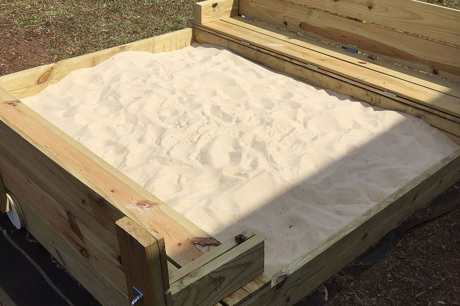 Build a DIY sandbox with folding lid and seats | KaBOOM!