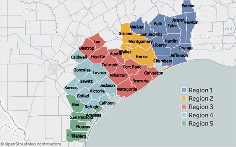 Rebuild Texas Fund eligible counties map